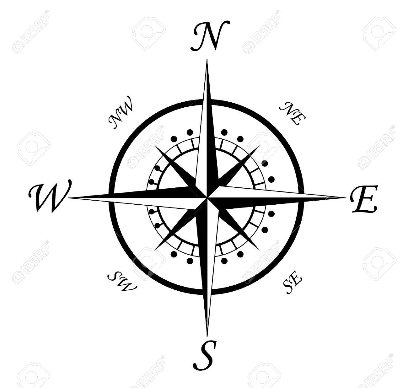 compass isolated  Compass Compass Rose Clipart Black And White