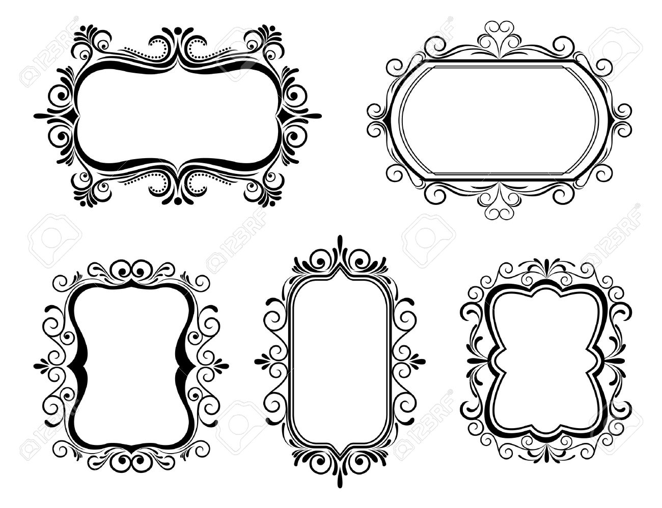 Antique Vintage Frames Isolated On White For Design Royalty Free ...