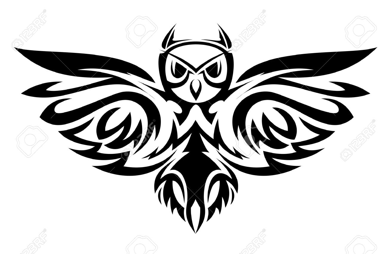 black owl symbol isolated on white as a wisdom concept royalty free rh 123rf com black and white vector artwork black and white vector art free