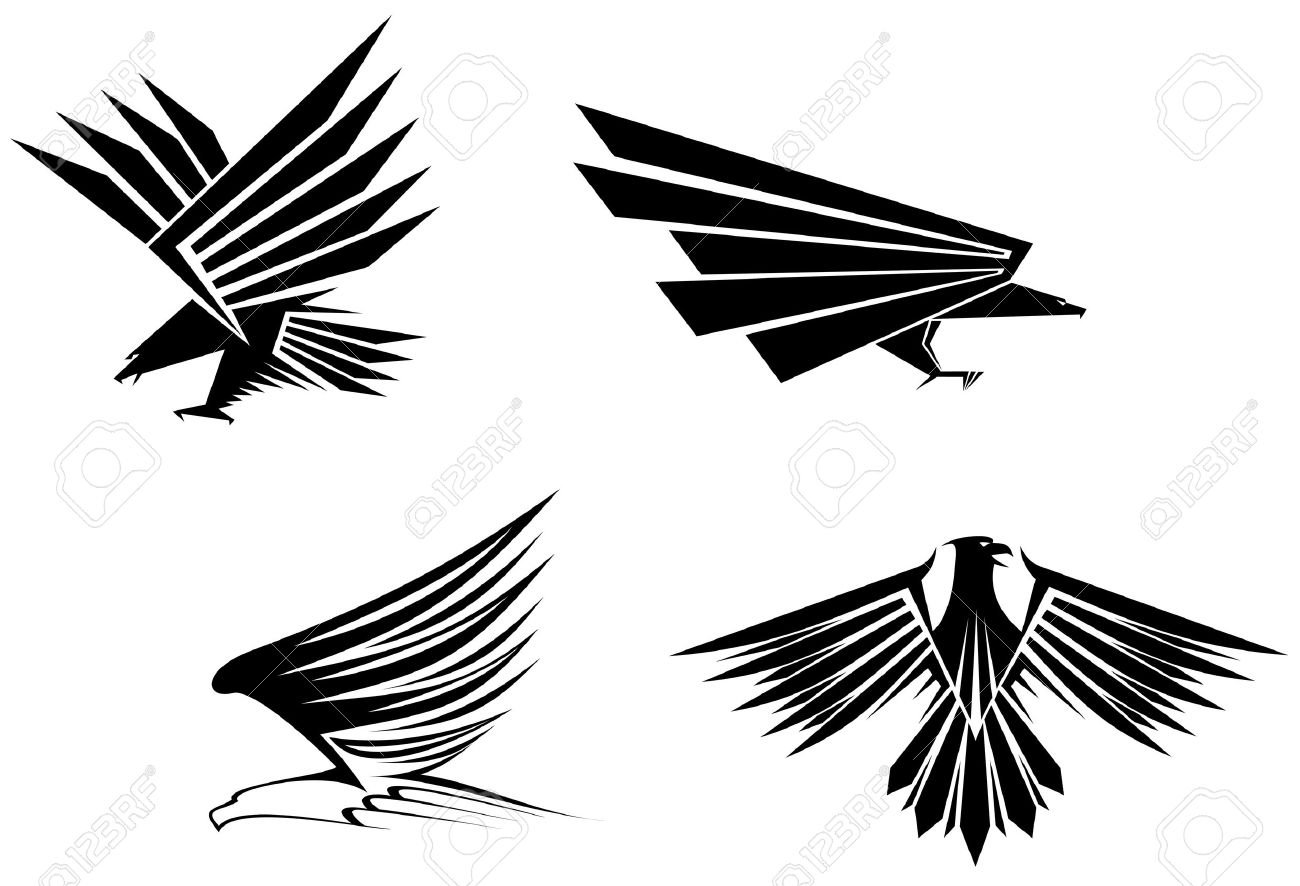 Eagle symbol isolated on white for tattoo design Stock Vector - 6352320
