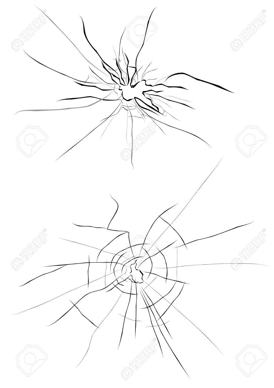 Cracked Glass Drawing Broken Glass For Design