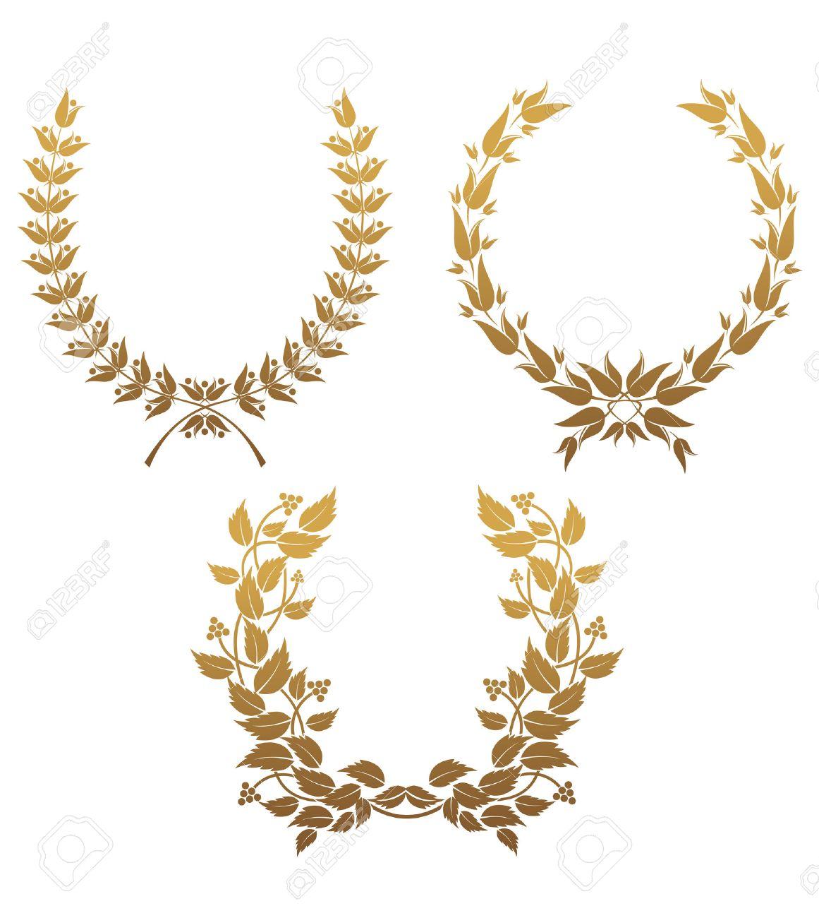 Set of gold laurel wreaths for design Stock Vector - 6554178