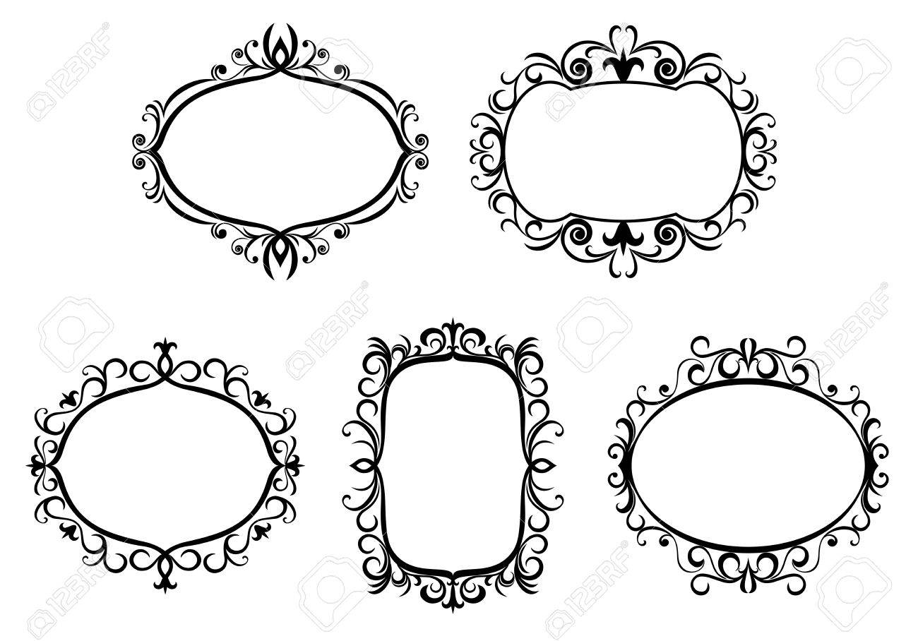 Antique vintage frames and borders isolated on white for design Stock Vector - 6554171