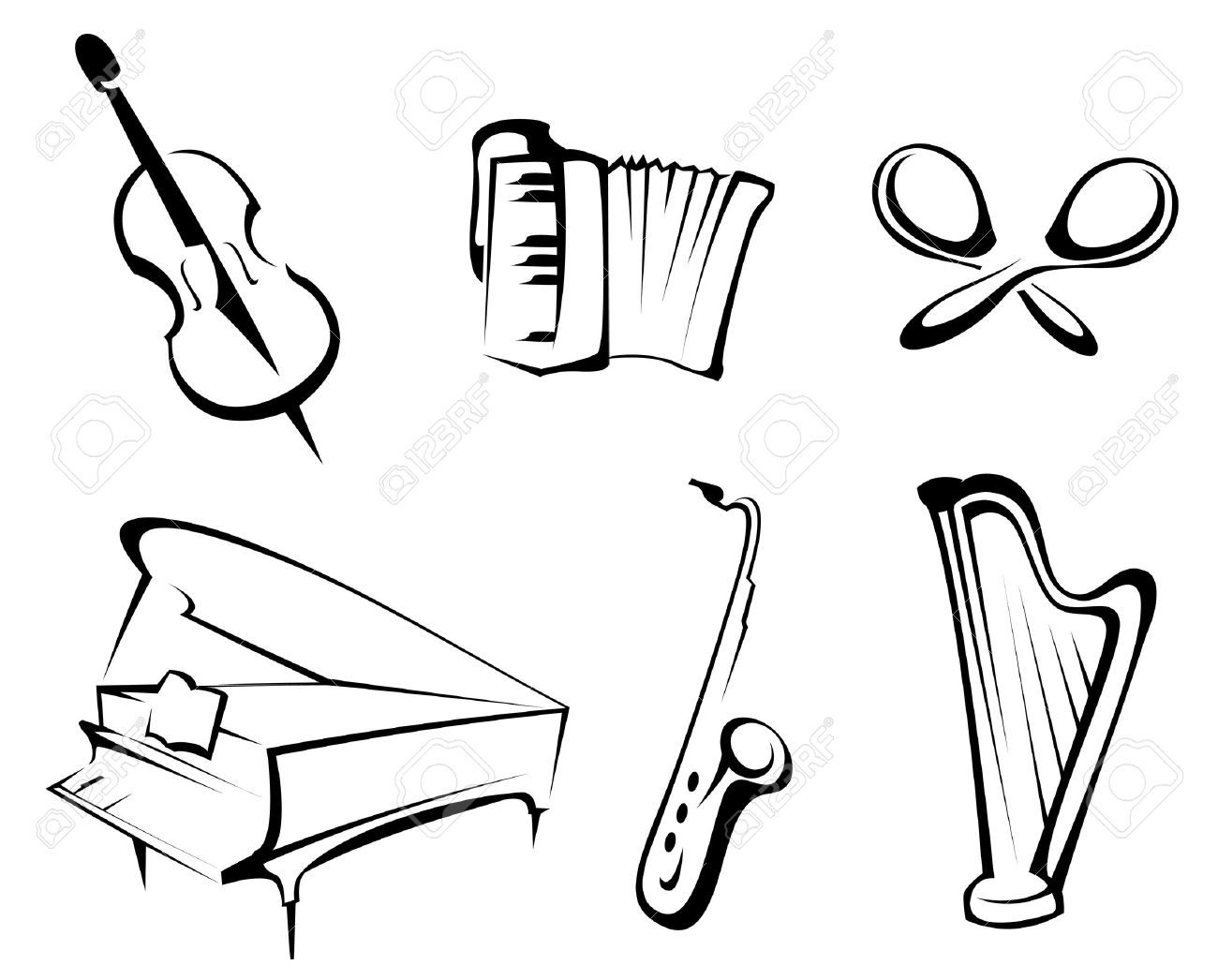 Musical instruments set for design and decorate Standard-Bild - 6554170