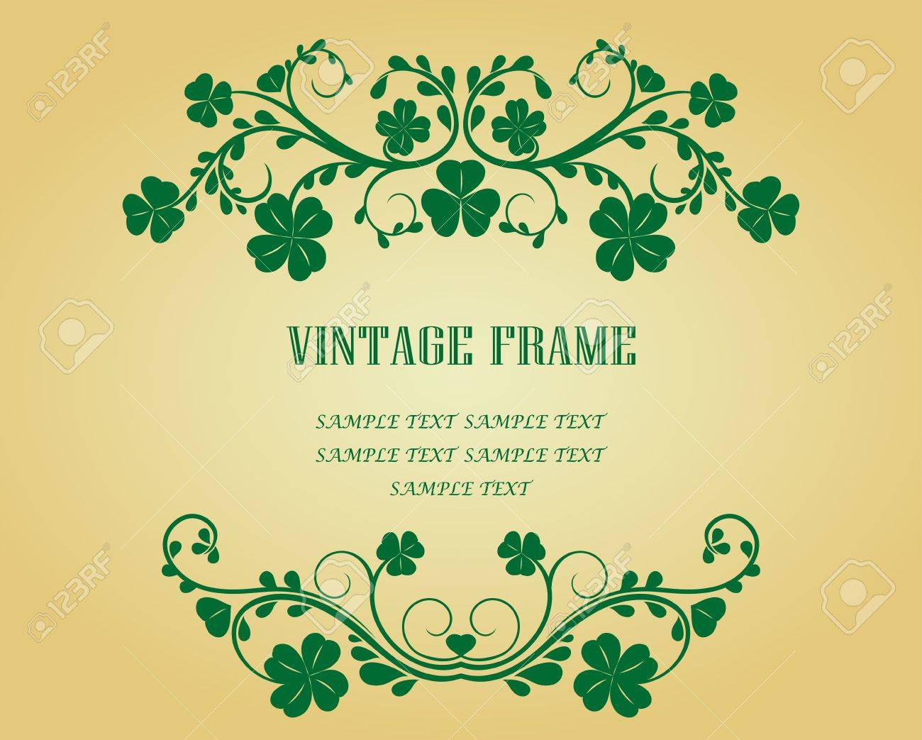 Vintage frame with clover for design as a background Stock Vector - 6554219