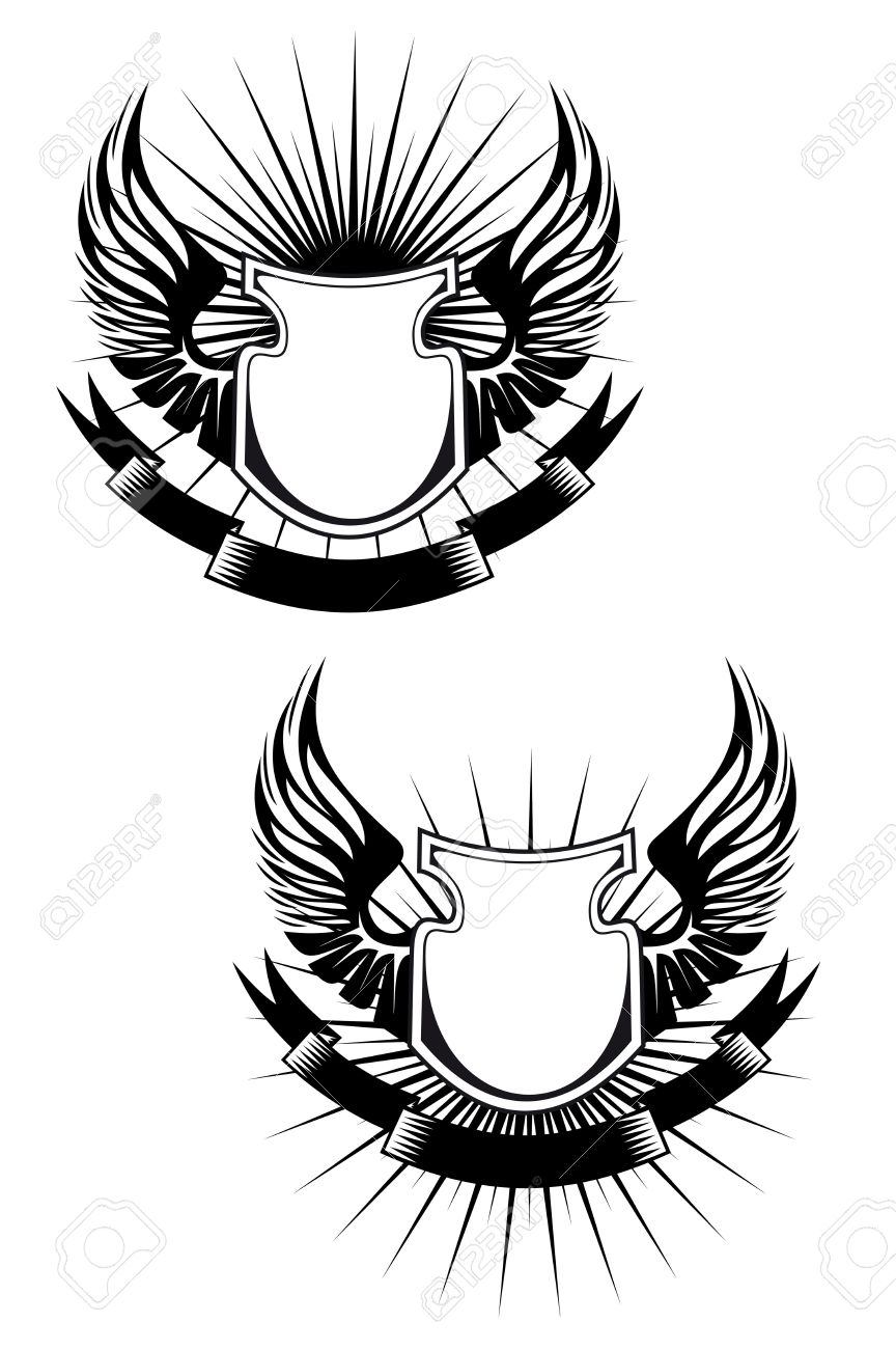 Heraldic shields, wings and ribbons for design Stock Vector - 6725393