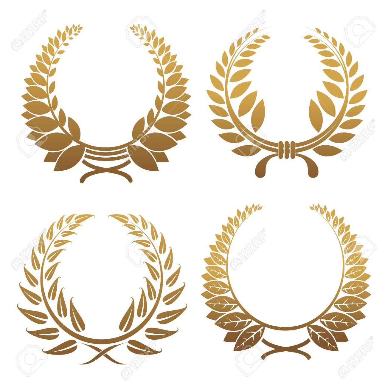 Set of gold and black laurel wreaths Stock Vector - 6725395