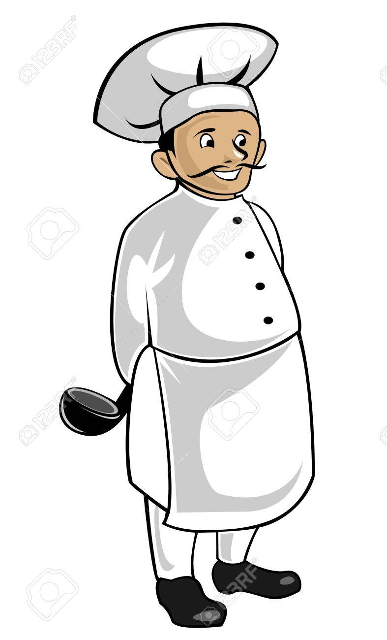 Chef in uniform isolated on white as a concept of healthy food Stock Vector - 6725419