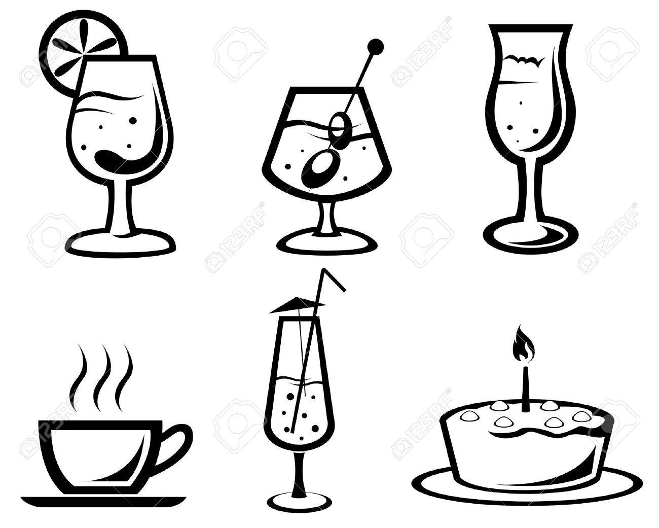 Set Of Cocktail And Food Symbols For Design Royalty Free Cliparts