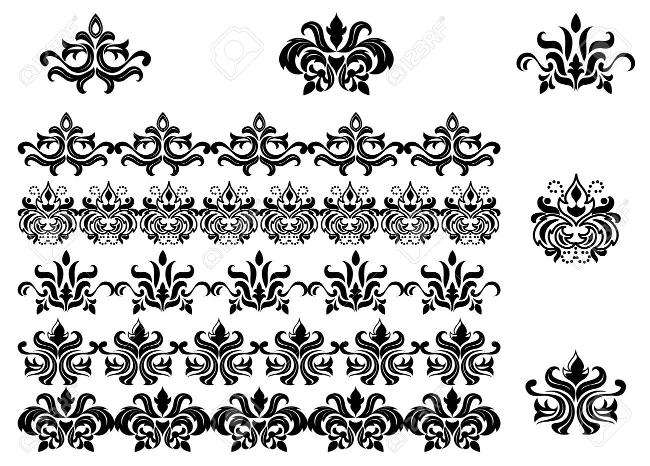 Flower patterns and borders for design and ornate Stock Photo - 6961023