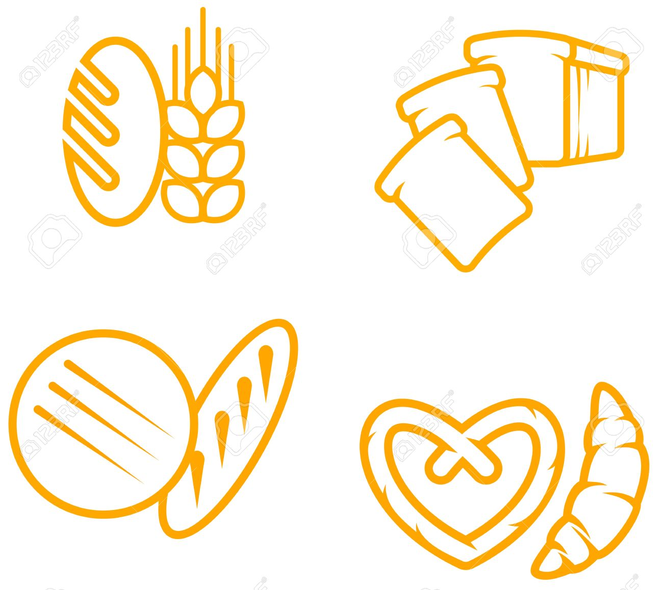 Set of bread and bakery symbols for design Stock Vector - 7009102