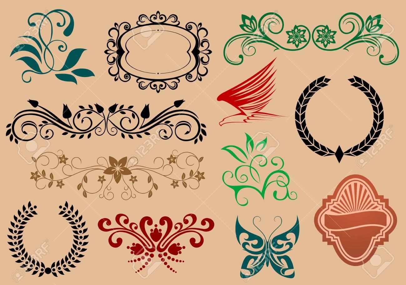 Conjunto De Heráldica Y Símbolos De Decoración Para El Diseño De Aislados En Segundo Plano