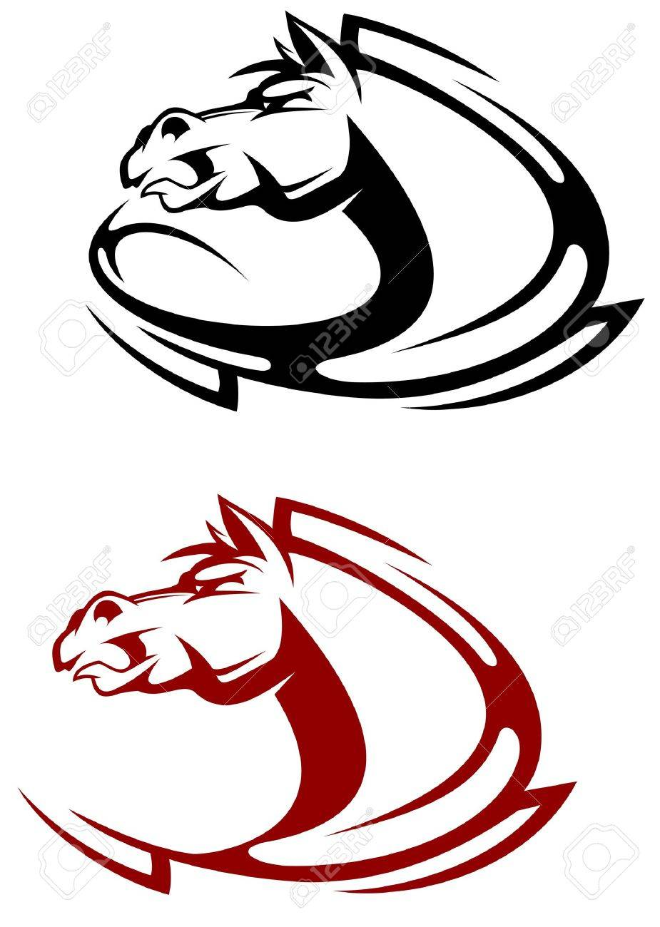 Horse tattoo symbol for design isolated on white Stock Vector - 7132109