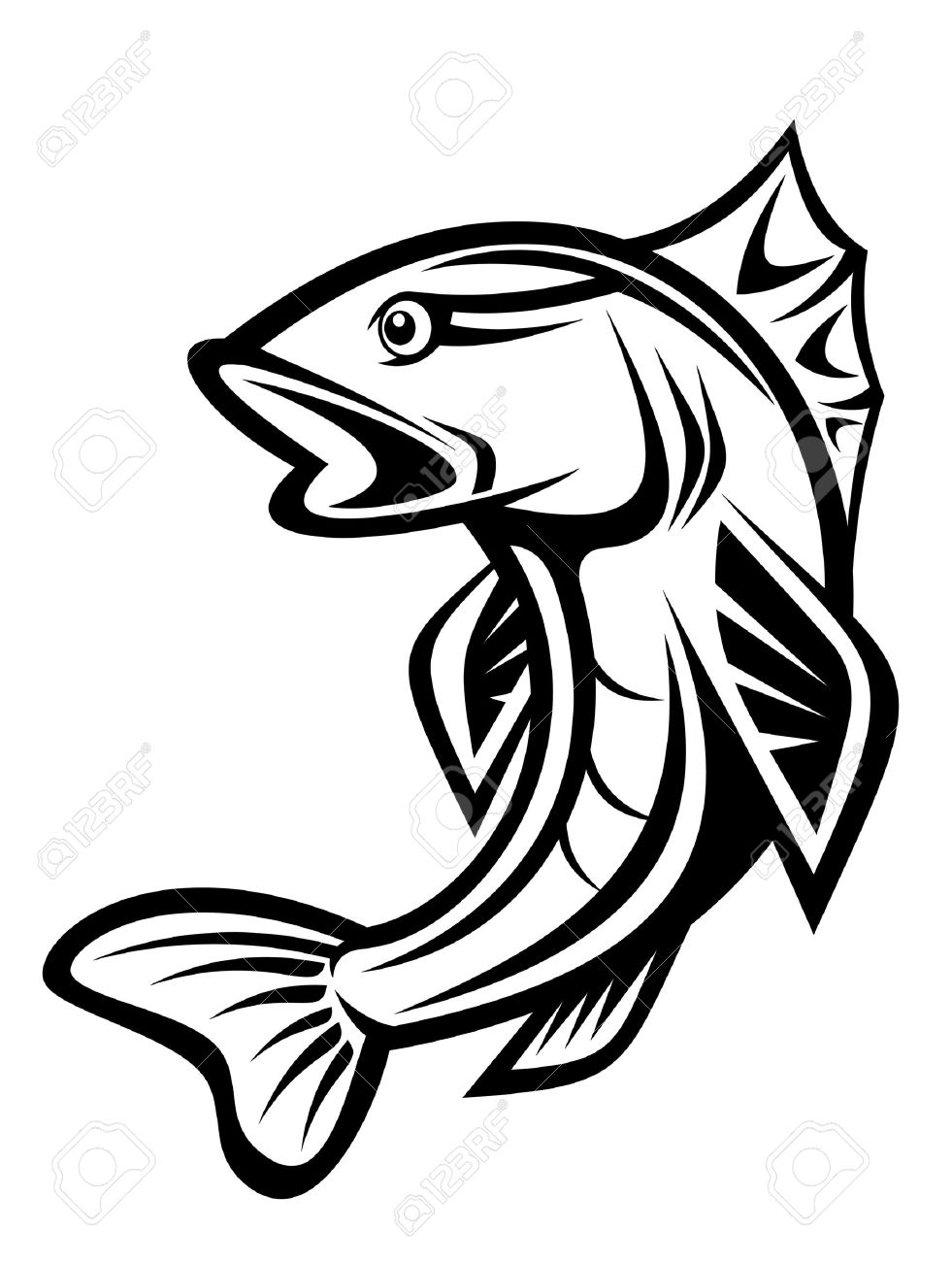 Fish as a fishing symbol isolated on white Stock Vector - 7164835