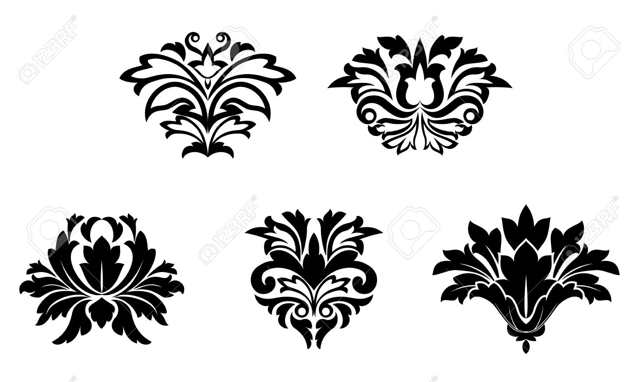 Flower Patterns Isolated On White For Design Stock Vector   7587962