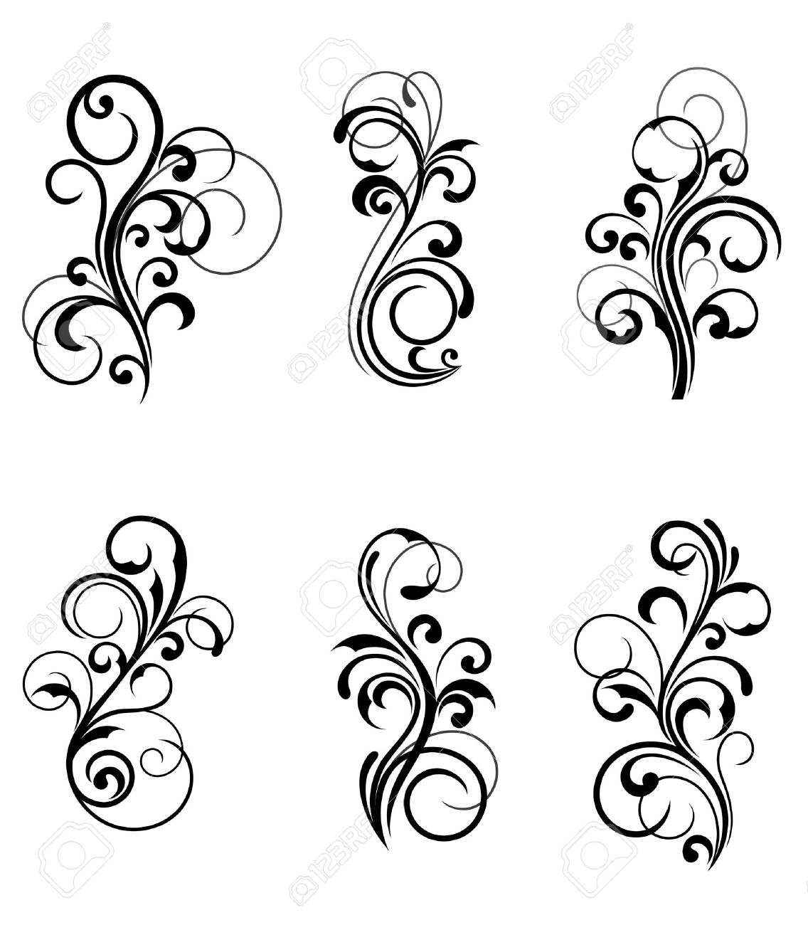 Floral patterns for design isolated on white Stock Vector - 7633709