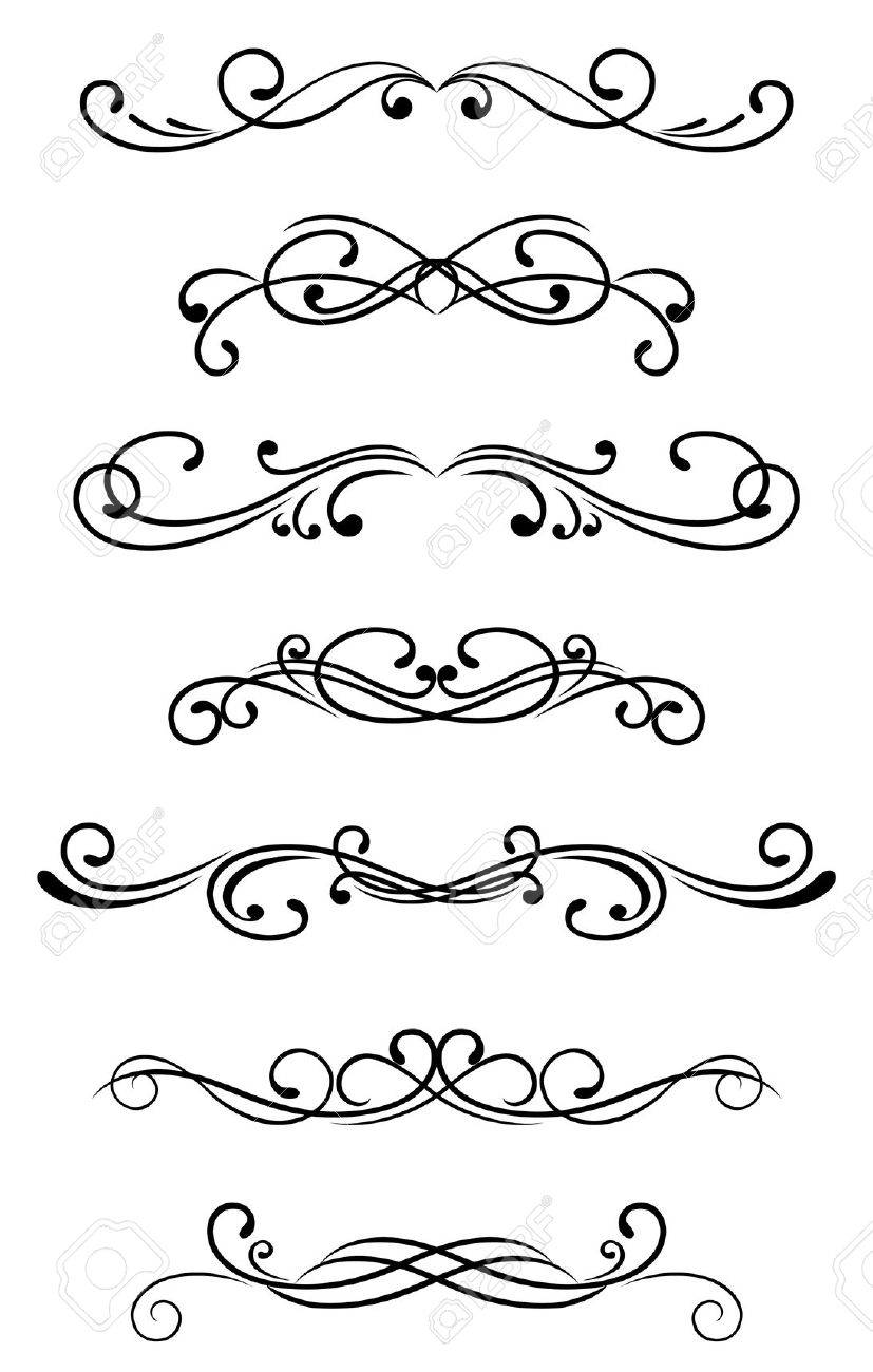 Swirl Elements And Monograms For Design And Decorate Stock Vector 8795998