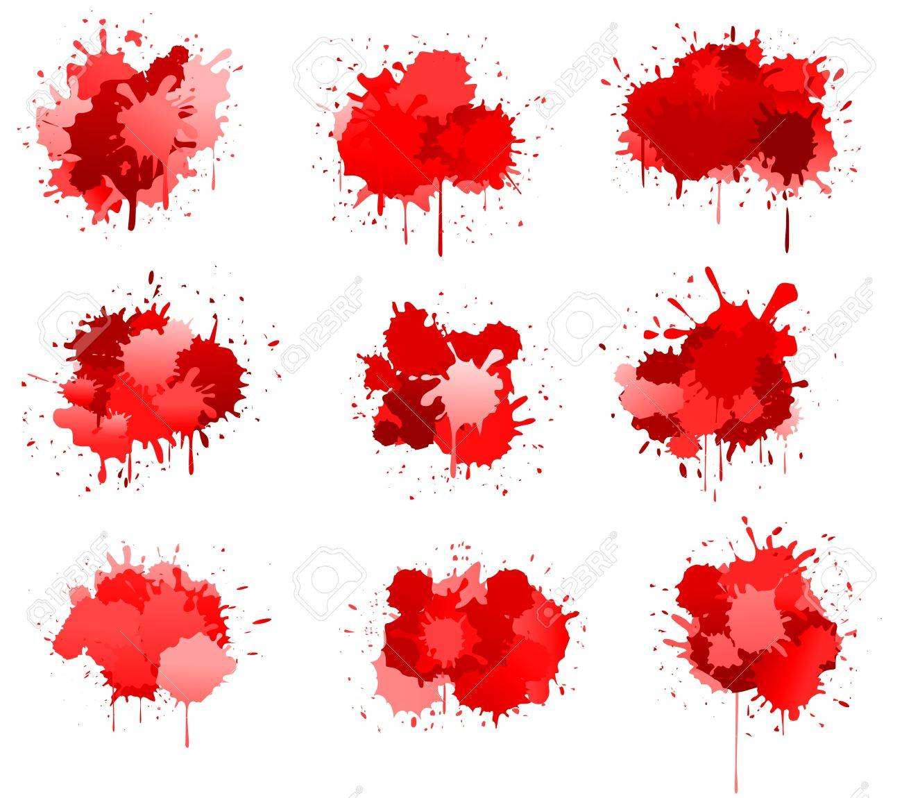 Red ink or blood blobs isolated on white for design Stock Vector - 8796060