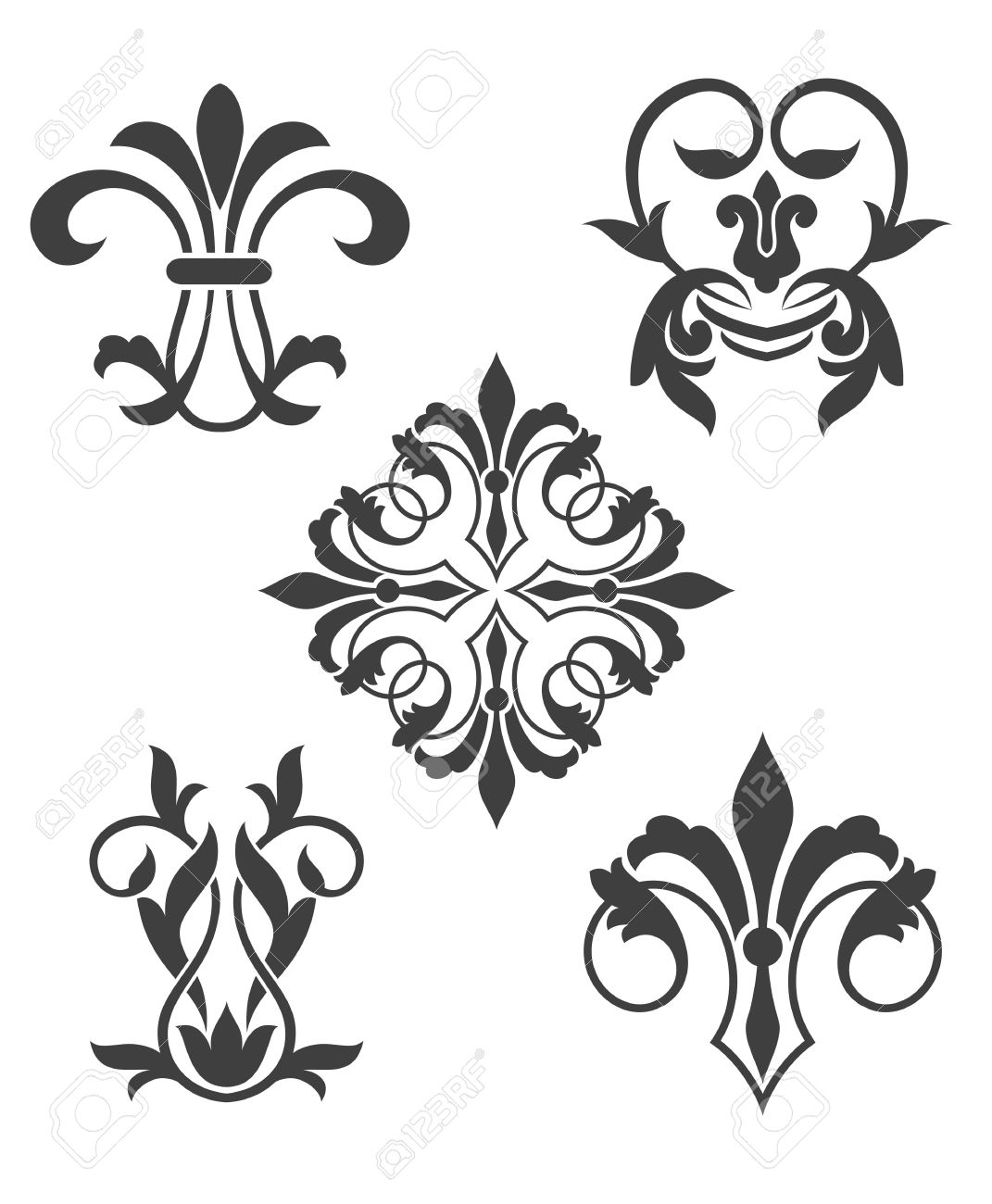 Antique Vintage Floral Patterns Isolated On White Stock Vector