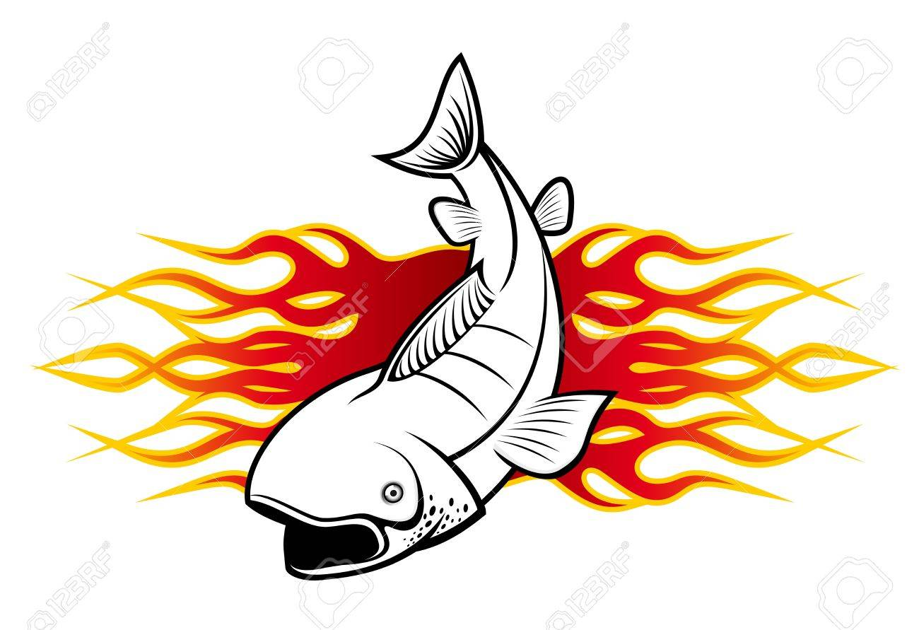 c8b047edb48c2 Fish With Tribal Flames For Tattoo Design Royalty Free Cliparts ...