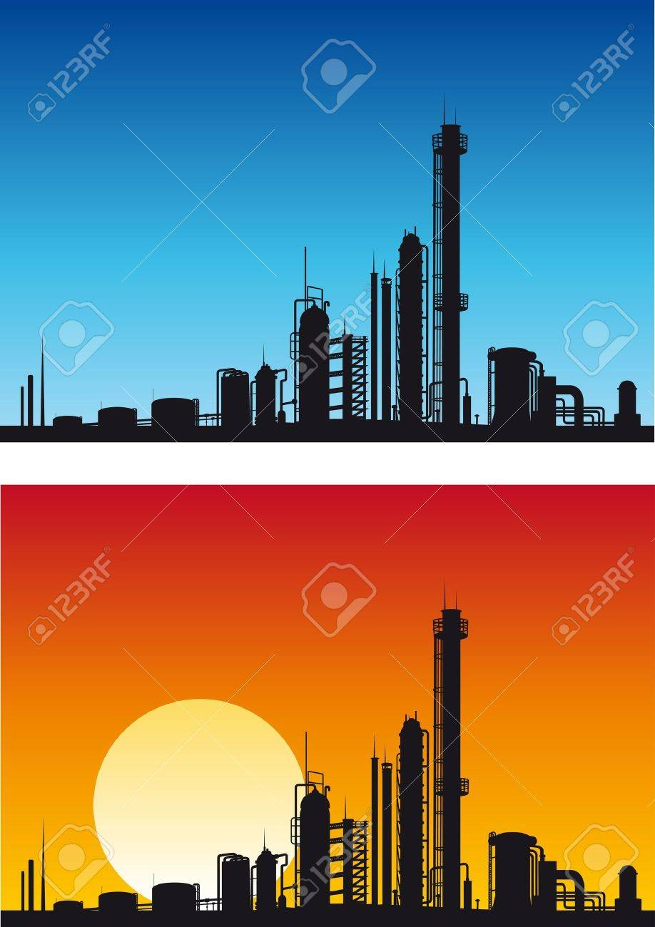 Chemical or gasoline factory for industrial design Stock Vector - 9609388