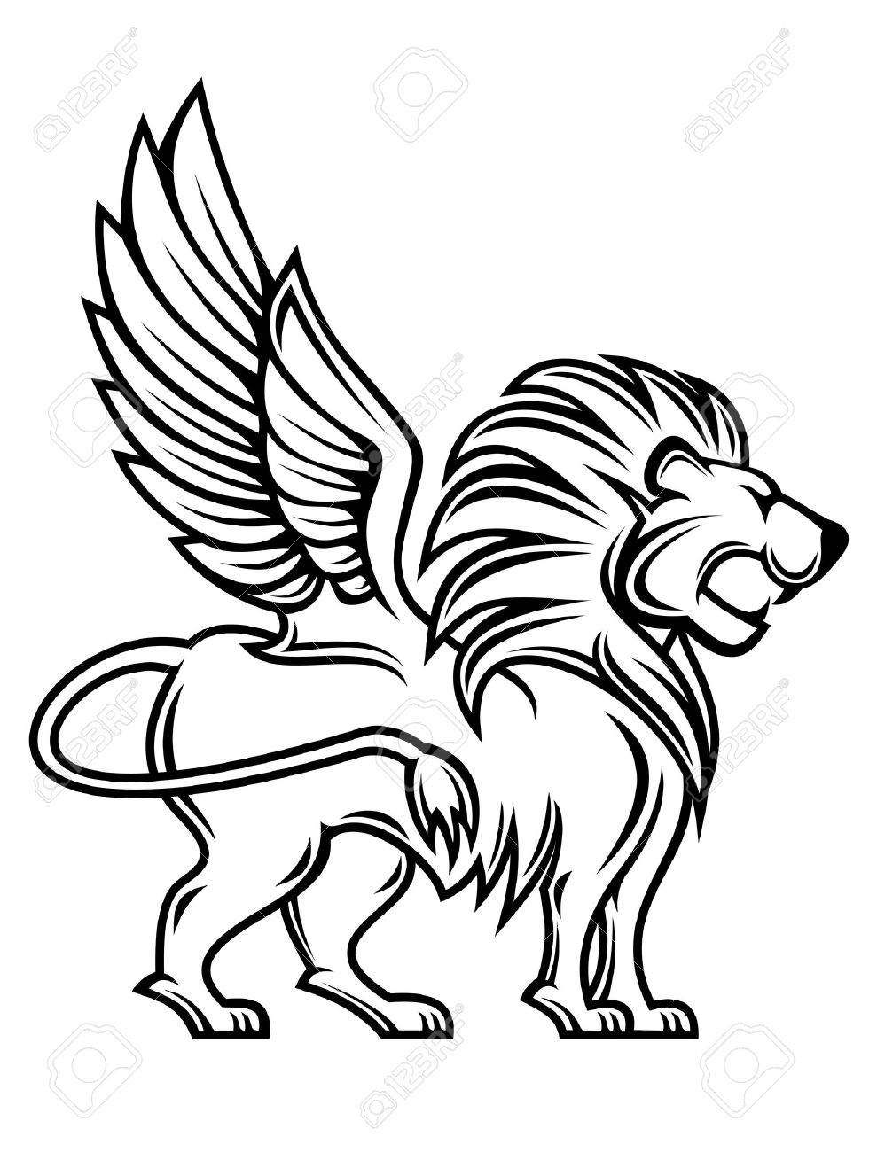 Set with africa animals black white stock vector 169 insima - Profile Wings Isolated Lion With Wings For Heraldry Design