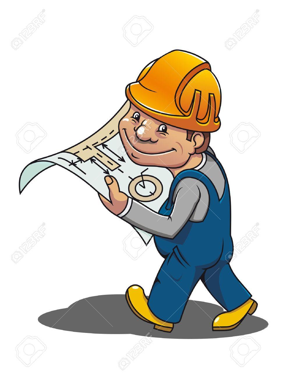 Smiling cartoon worker with scheme for industrial design Stock Vector - 9779214
