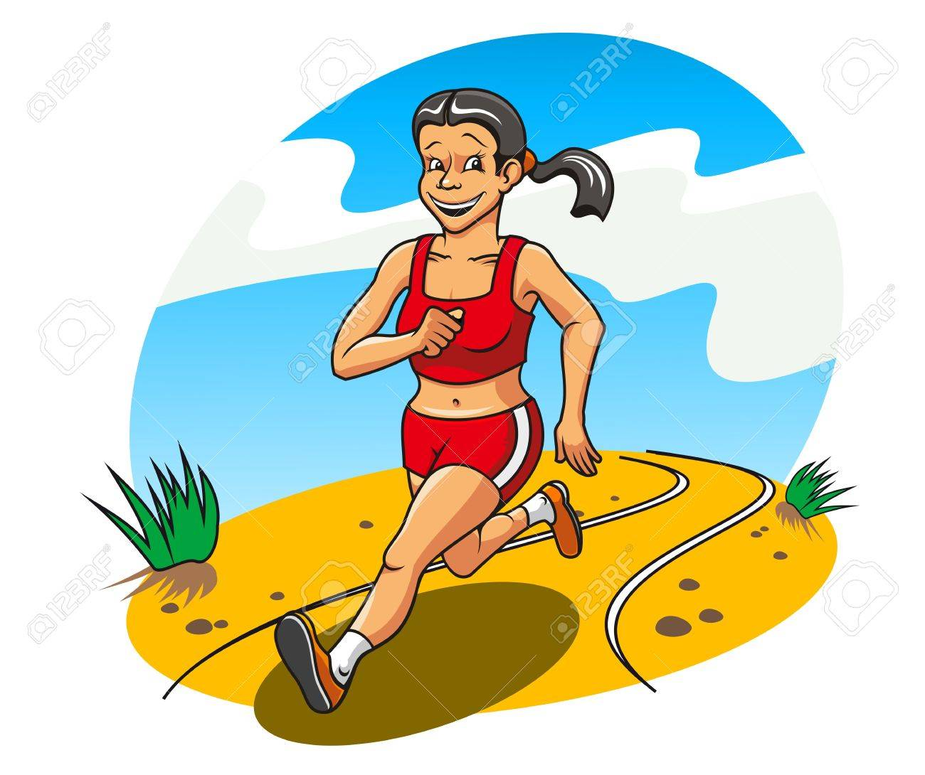 Happy and cheerful running woman for lifestyle concept Stock Vector - 9779215