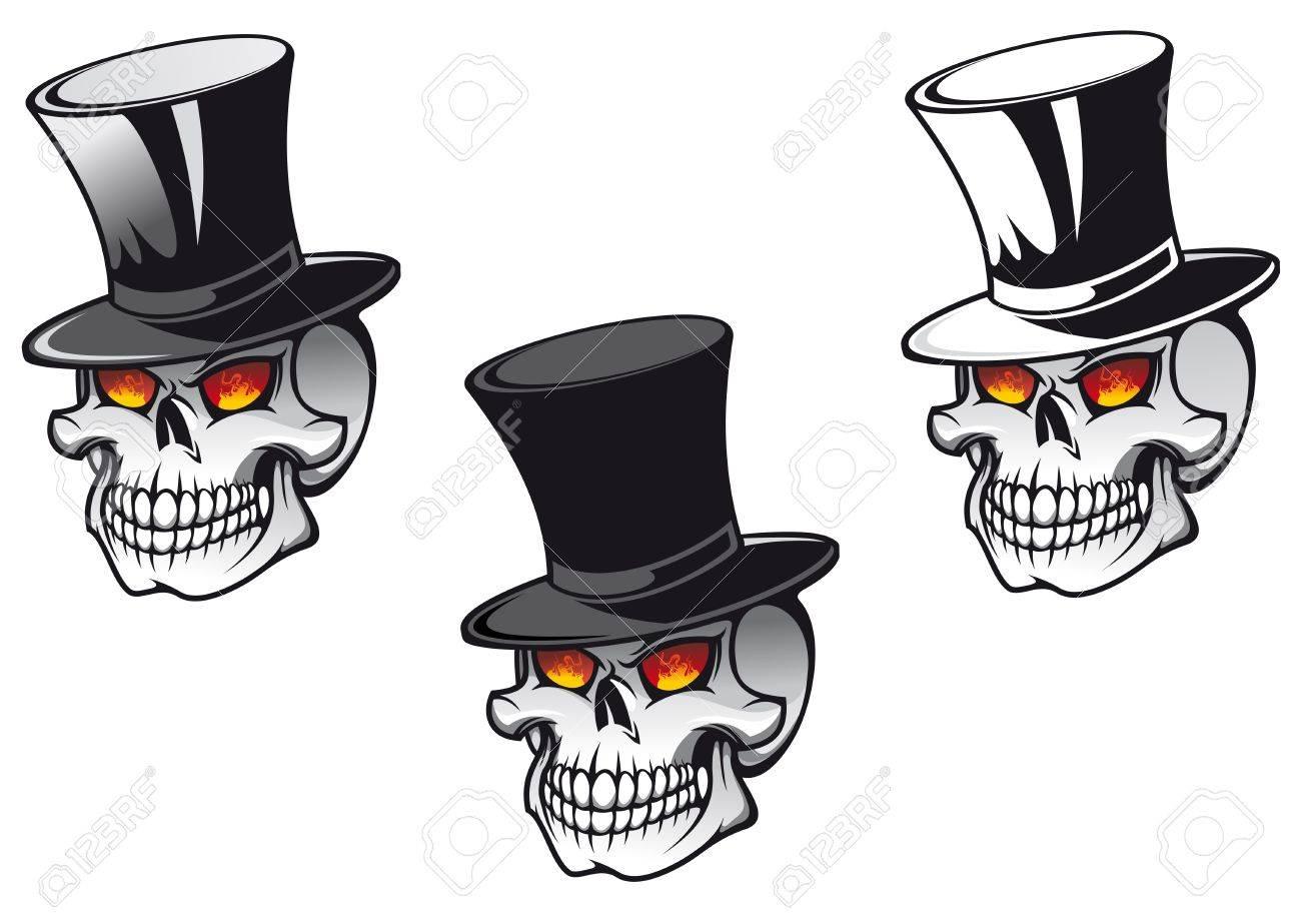 Skull in black hat for tattoo design Stock Vector - 9929670