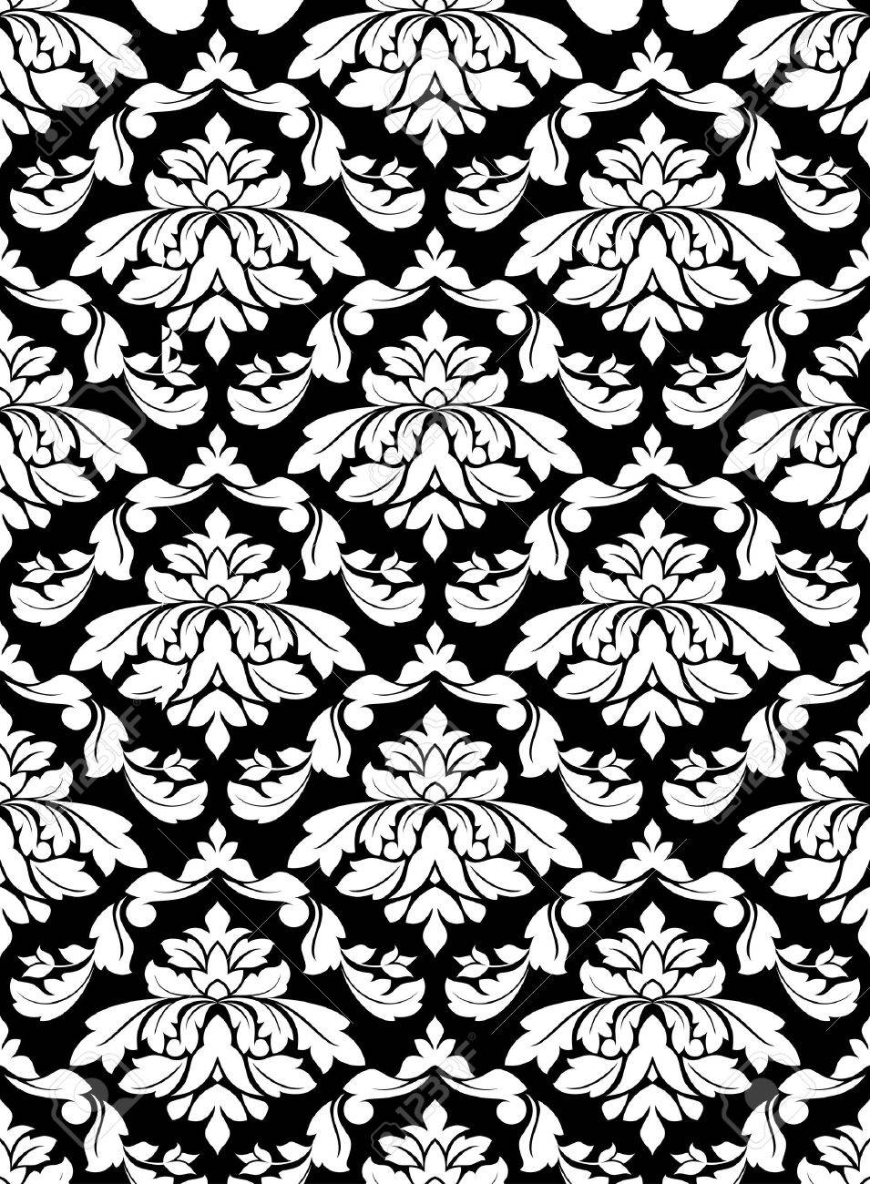 Damask seamless pattern for background design in white and black color Stock Vector - 9929675