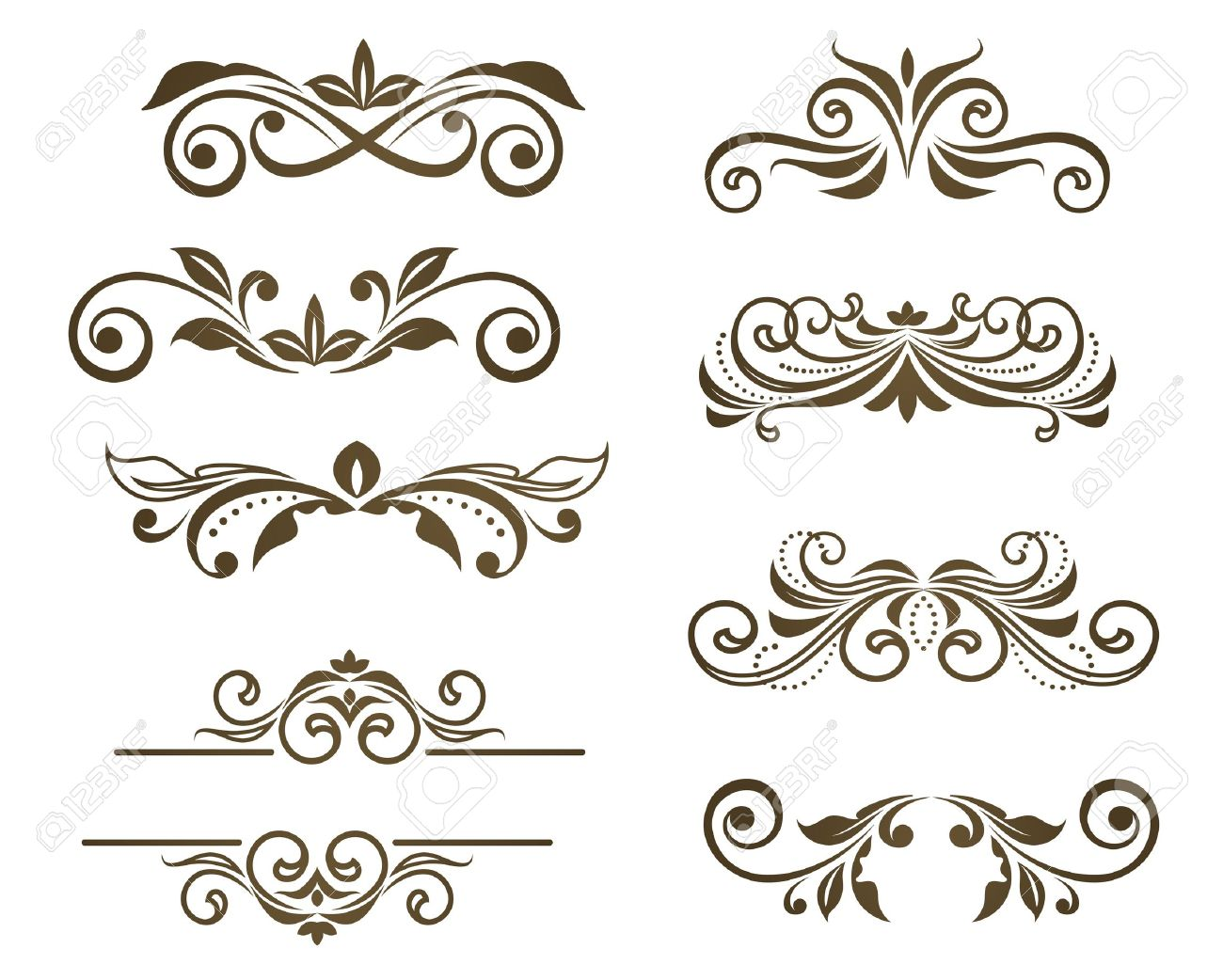 Vintage floral motifs for design isolated on white Stock Vector - 9929667