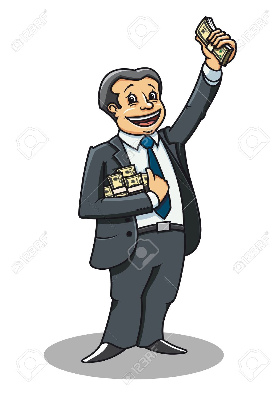 Cheerful businessman with money as a success concept Stock Vector - 9929664