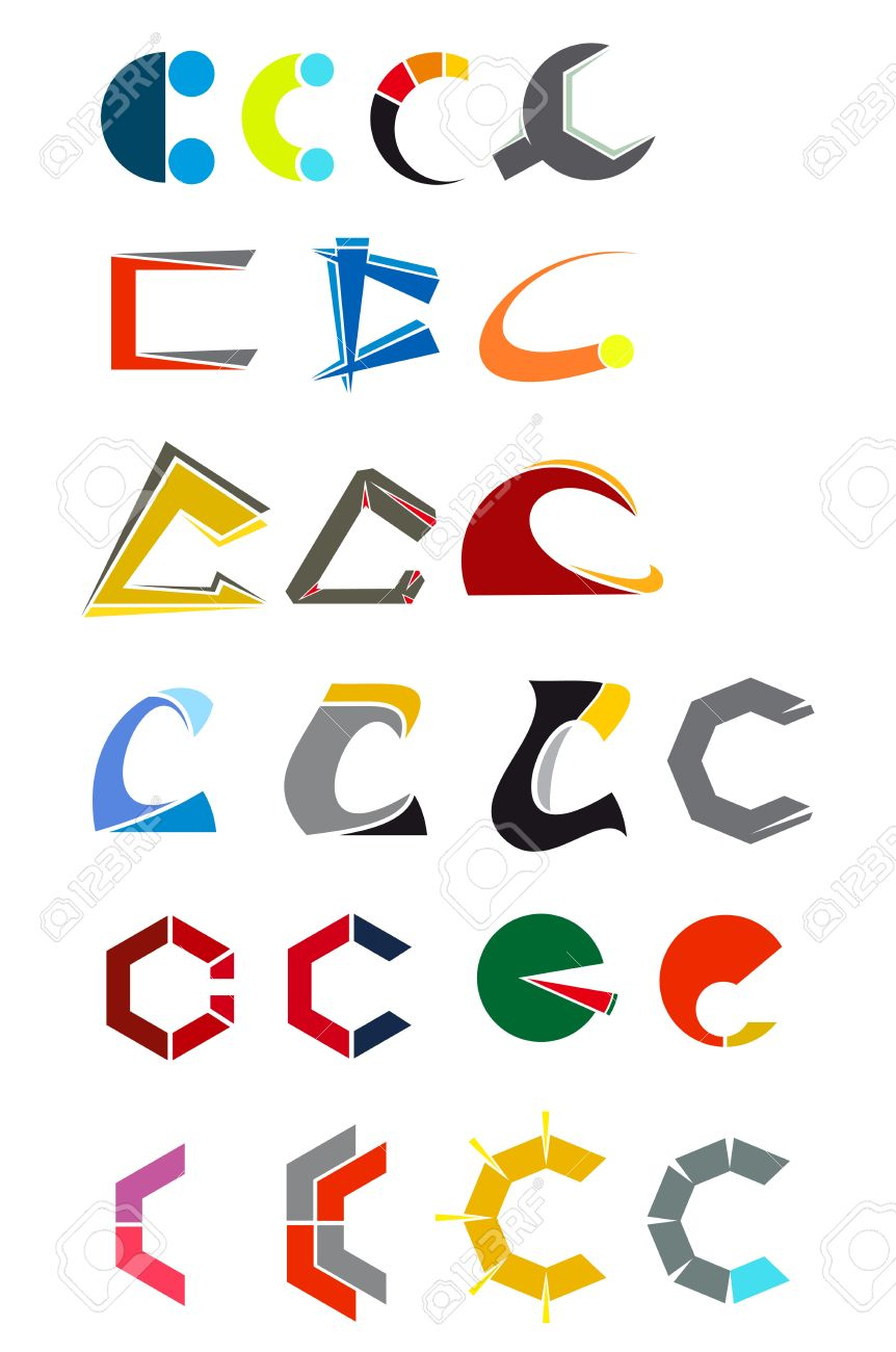 Set of alphabet symbols and elements of letter C