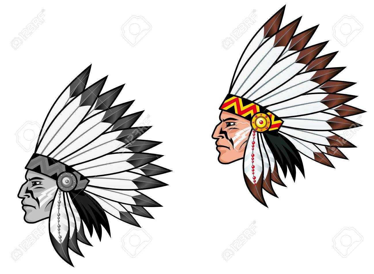 Indigenous people in national costume for tattoo design Stock Vector - 10011145