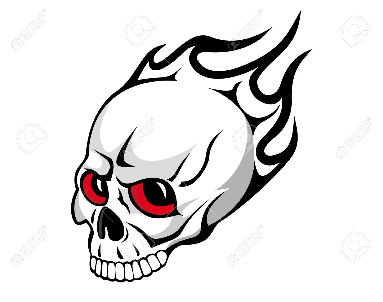 Danger evil skull with flames as a tattoo isolated on white Stock Vector - 10371908