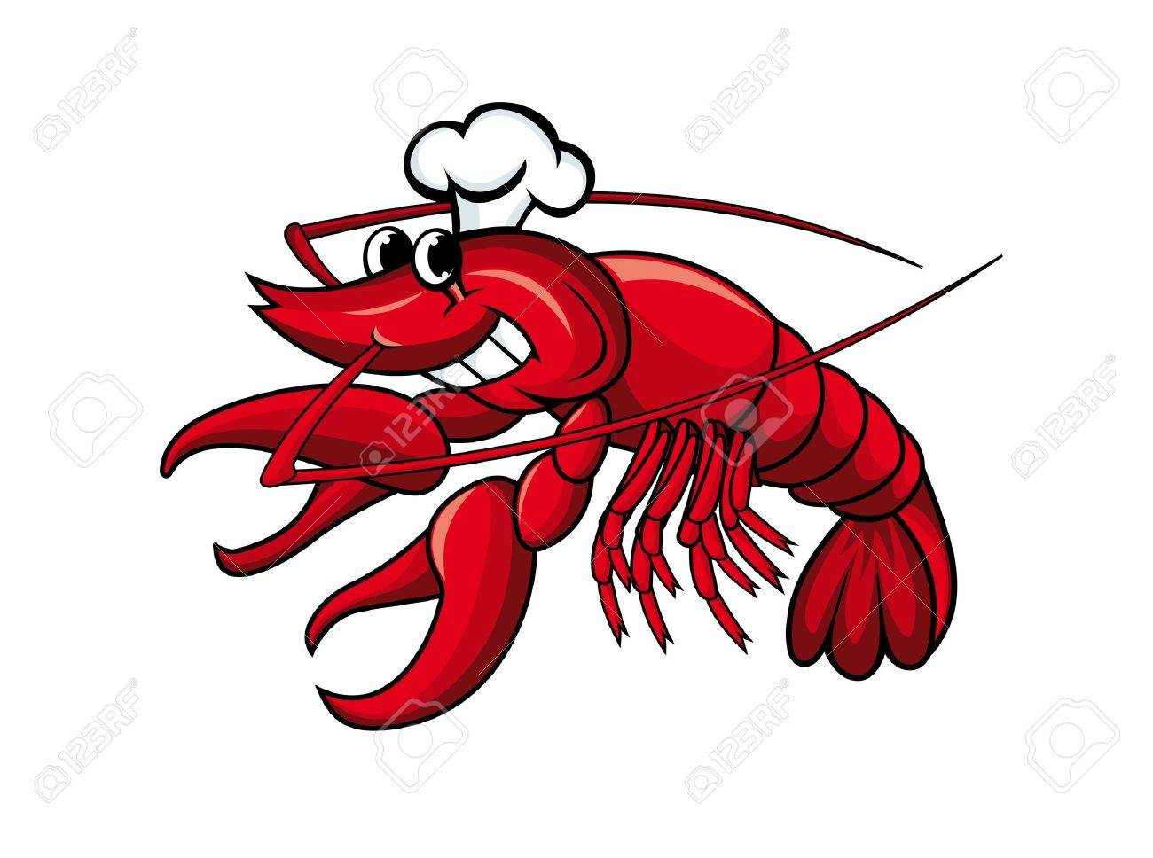 Smiling red crayfish or shrimp isolated on white Stock Vector - 10371921