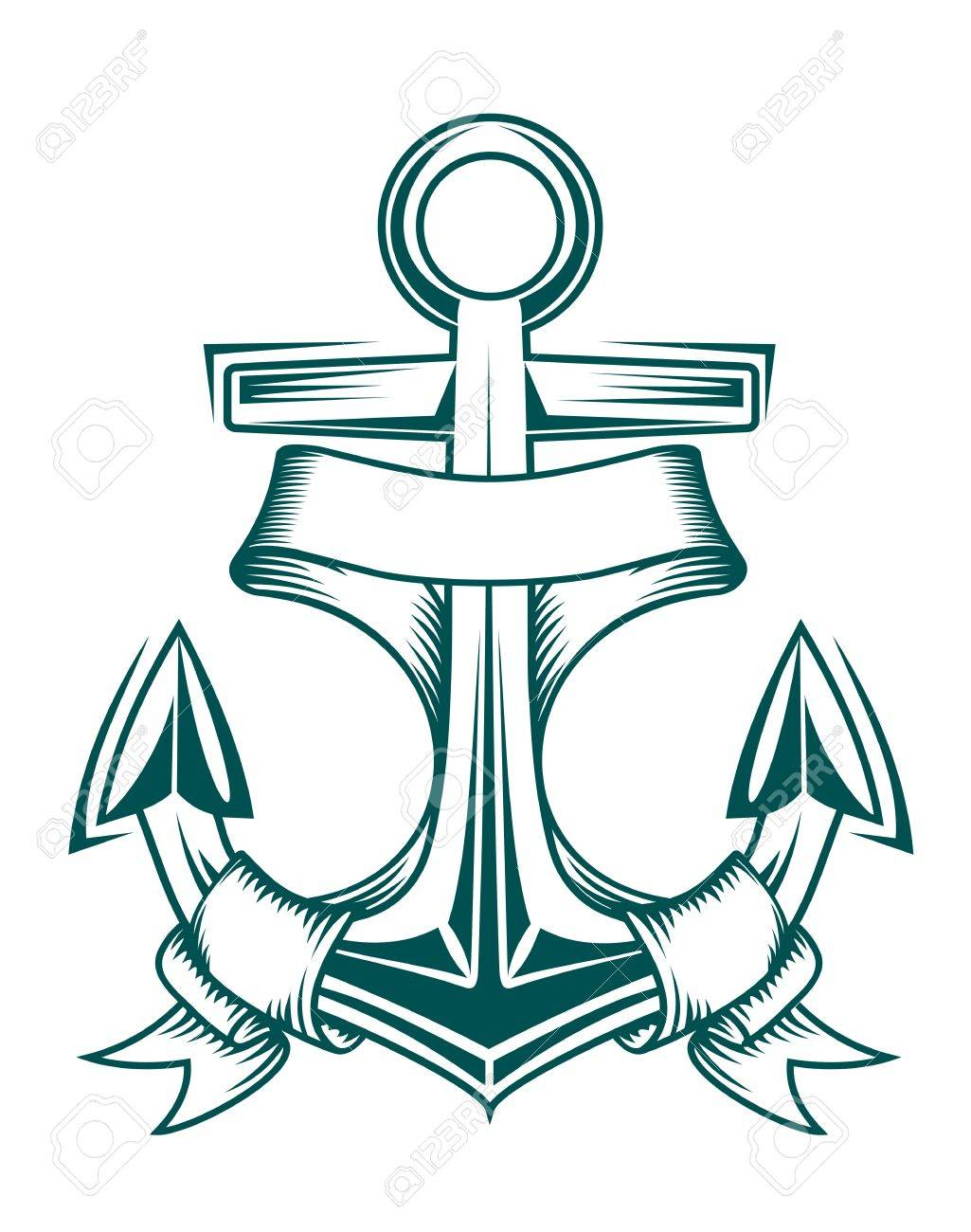 Ancient anchor with ribbons for heraldic design Stock Vector - 10538385