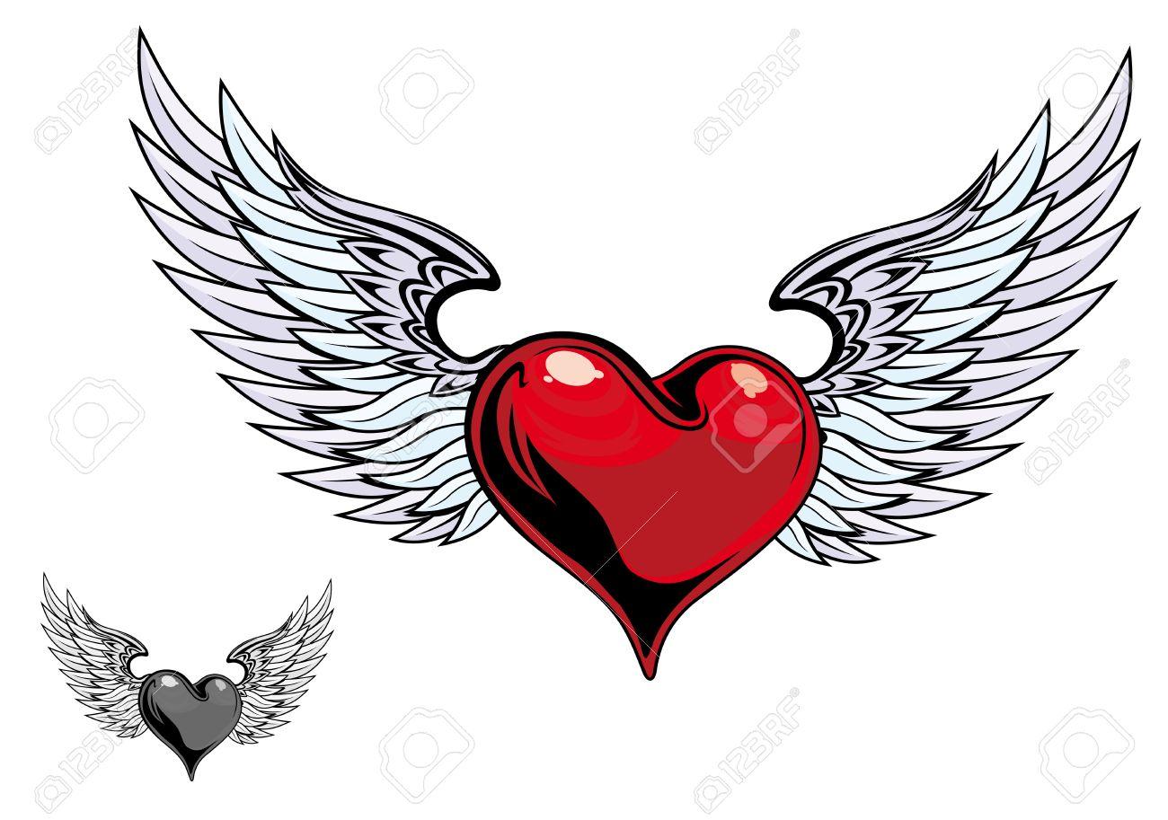 Corazón De Color Retro Con Alas Para El Diseño De Tatuaje