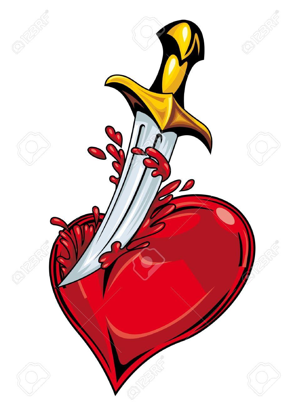 Corazón Con La Espada Y La Sangre Para El Diseño De Tatuaje