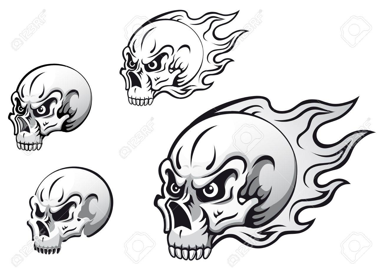 Danger Evil Skulls With Flames As A Tattoos Isolated On White