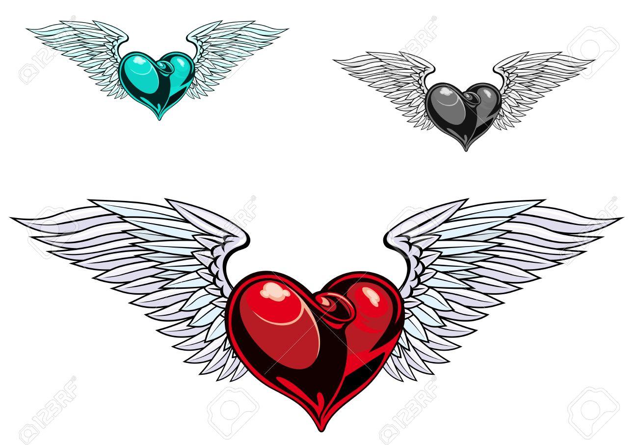 Corazón Con Alas De Color Retro Para El Diseño Del Tatuaje