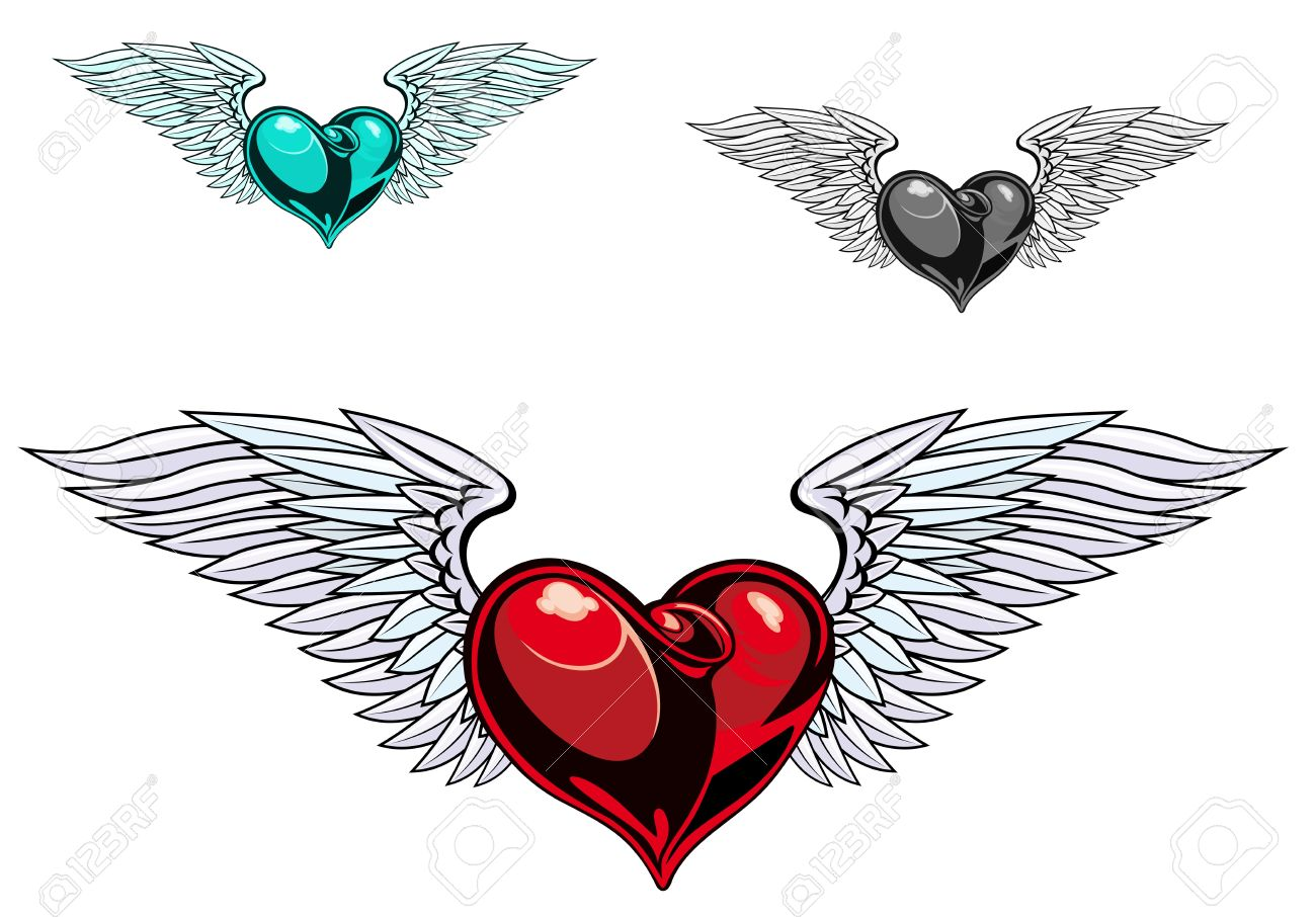 Retro color heart with wings for tattoo design Stock Vector - 10692922