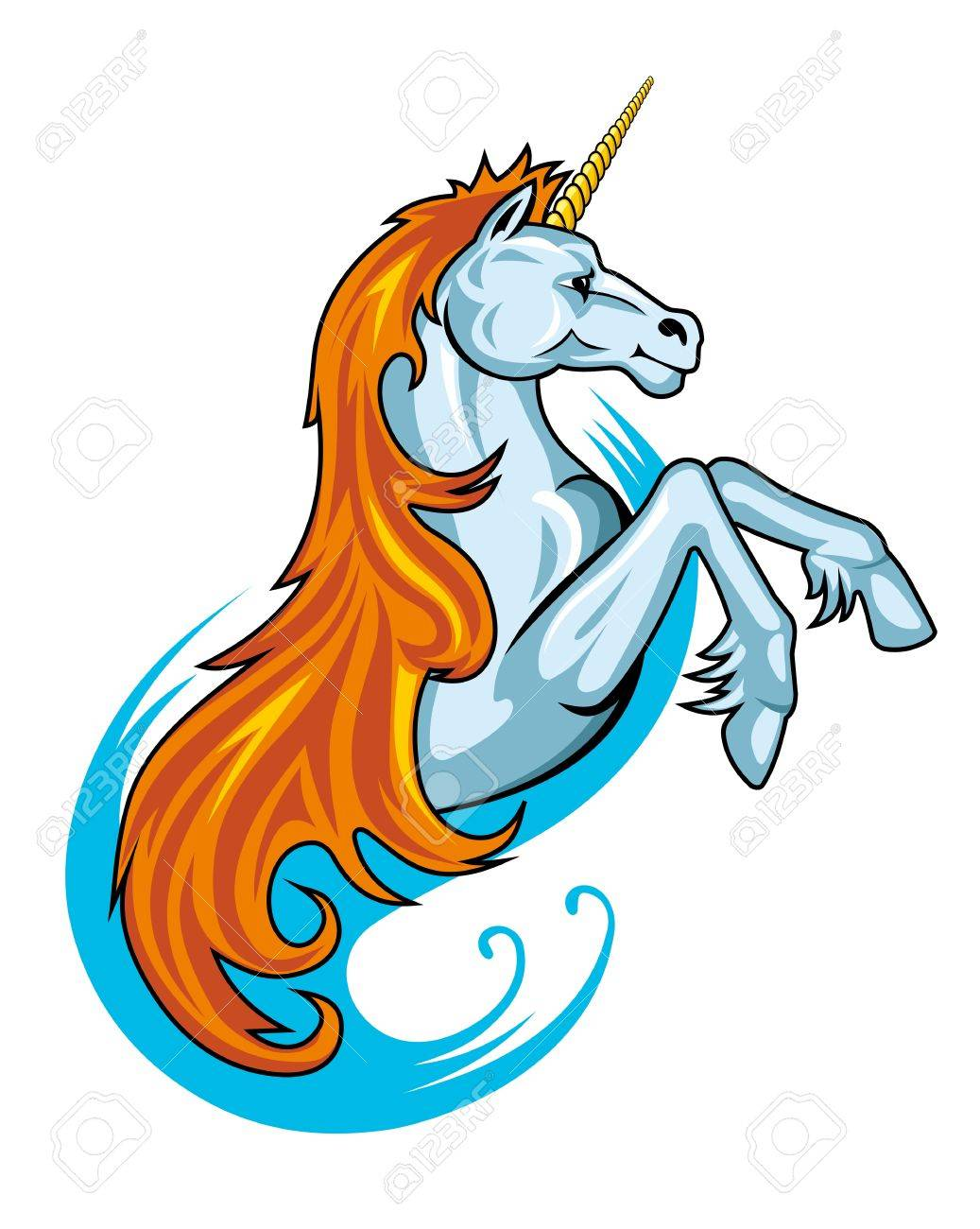 Fantasy unicorn horse in cartoon style for tattoo design Stock Vector - 10692909