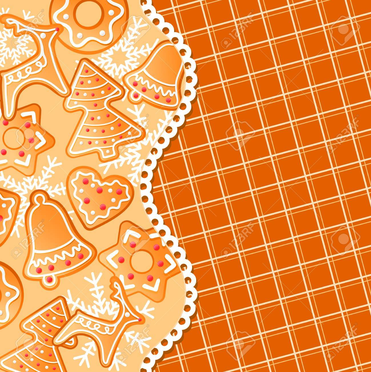 Gingerbread background for christmas or new year holiday design Stock Vector - 10859203