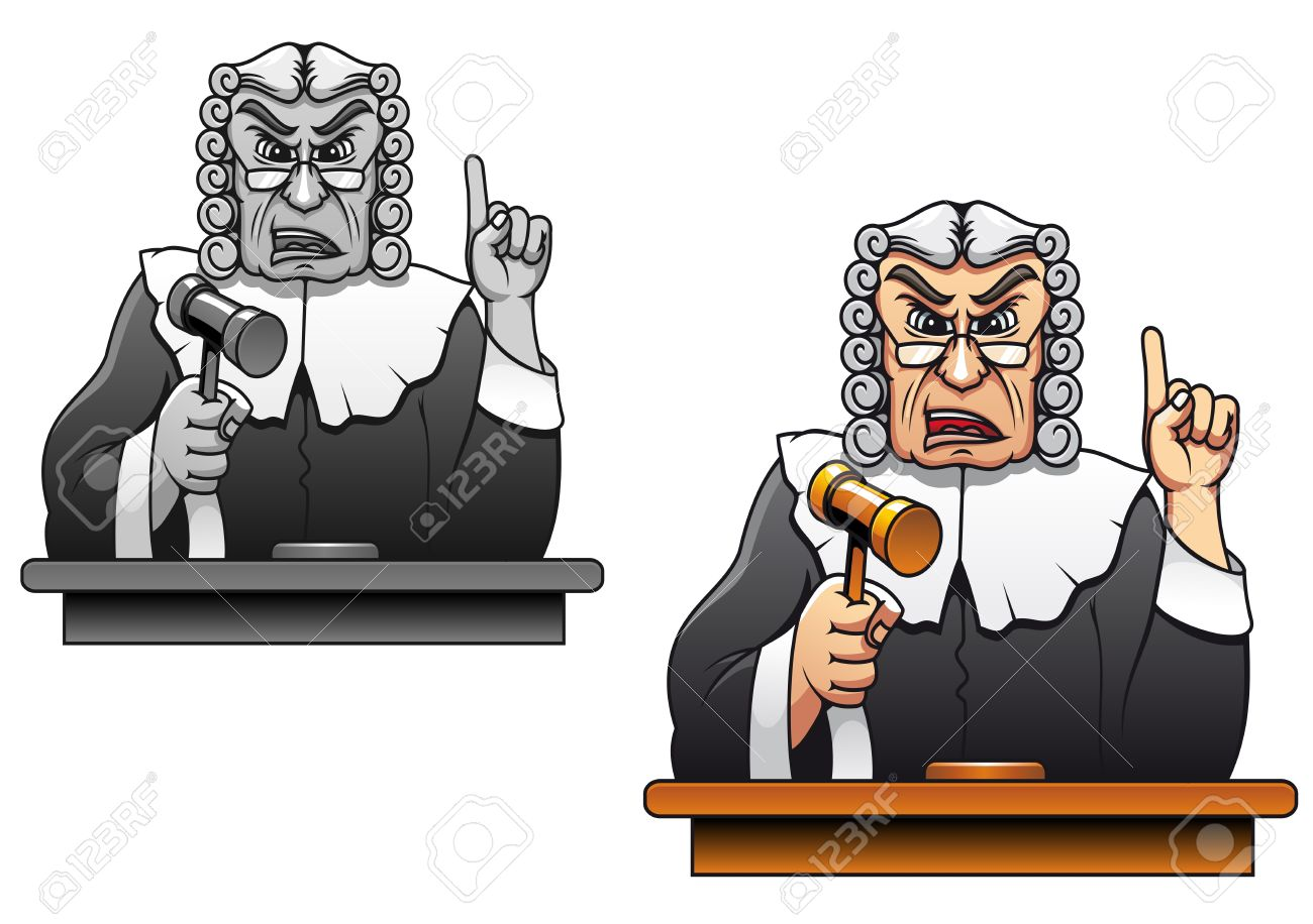 Judge with gavel for law concept design in cartoon style Stock Vector - 10915342