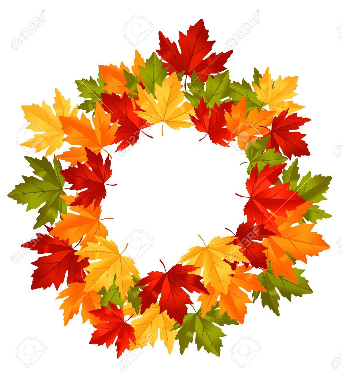 Autumn Falling Leaves In Frame For Seasonal Or Thanksgiving Design ...