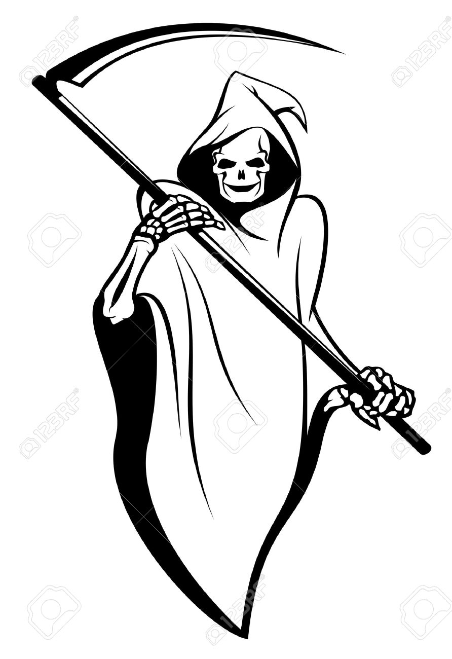 416 grim reaper tattoo stock vector illustration and royalty free