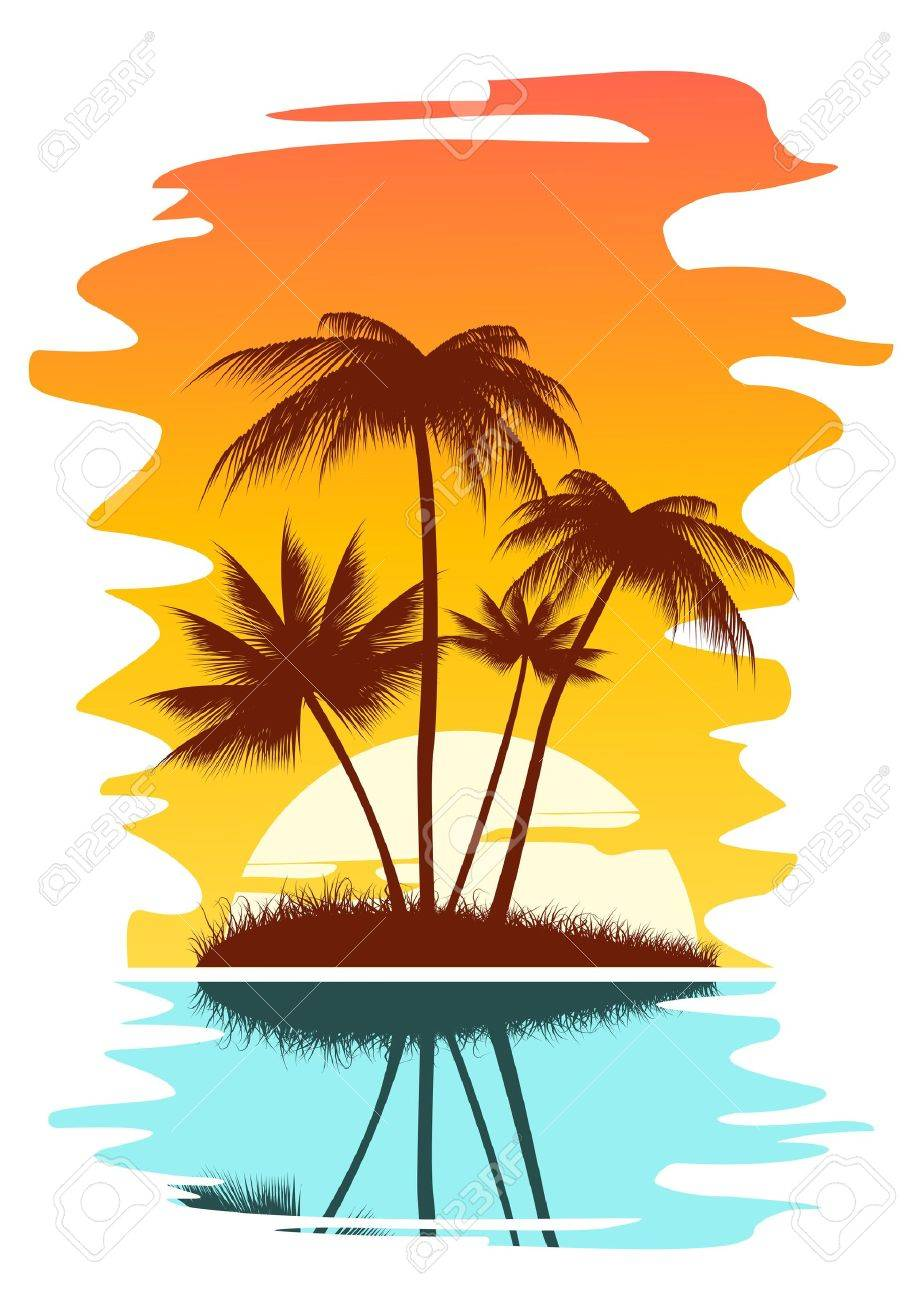 tropical abstract background with palms and sunset royalty free rh 123rf com free vector sunflowers free vector sunrise
