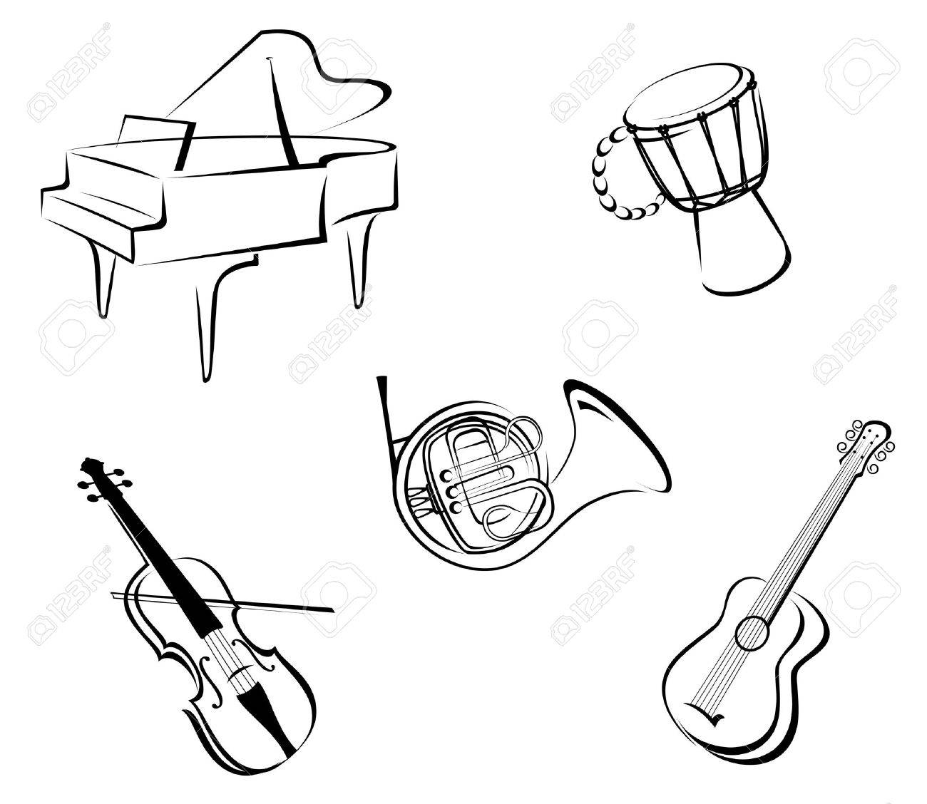 Set of musical instruments for music design Stock Vector - 10942348
