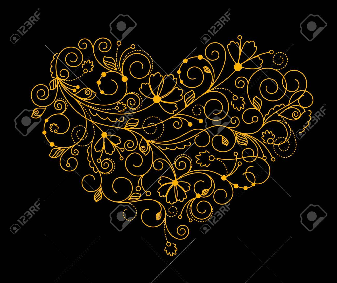 Abstract floral heart background for textile or invitation card design Stock Vector - 11006275